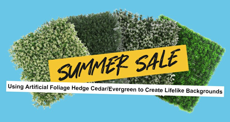 Using Artificial Foliage Hedge Cedar:Evergreen to Create Lifelike Backgrounds-- Summer Sale